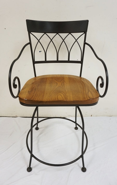NEW FURNITURE LIQUIDATION. IRON FRAME SWIVEL BAR CHAIR WITH COMTOURED PLANK SEAT
