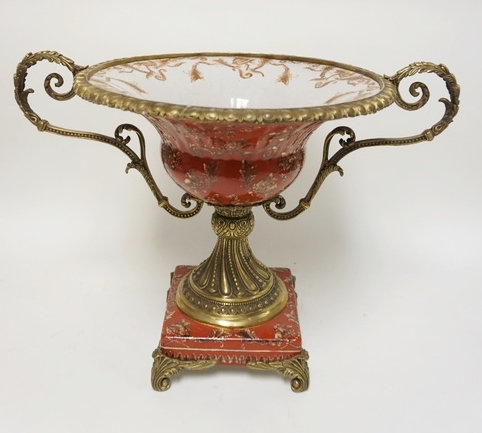 LARGE DECORATIVE CENTERPIECE COMPOTE WITH FRUIT D�COR . HAS METAL RIM, HANDLES,