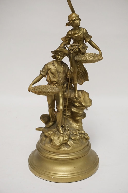 GILT METAL SCULPTURE LAMP AFTER L&F MOREAU. 38 3/8 INCHES HIGH INCLUDING FIXTURE