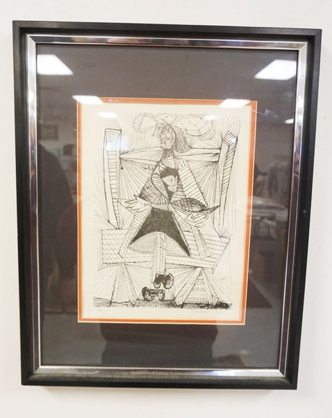 PICASSO PRINT MARKED E/U, PENCIL SIGNED PICASSO PARIS. 8 3/4 IN X 11 3/4 IN. DOU