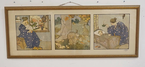 MARY LOUISE SPOOR (1887-1985) COLOR LITHOGRAPHIC TRIPTYCH *BYE BYE BUNTING*. COP