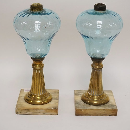1167_PAIR OF ANTIQUE BLUE GLASS OIL LAMPS WITH BRASS AND MARBLE BASES, 12 1/2 IN