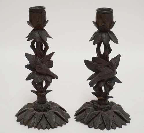 1099 Pair Of Carved Wooden Candlesticks In The Form Of Birds In