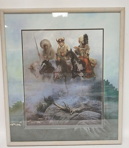 CHUCK DEHAAN SIGNED AND NUMBERED PRINT OF NATIVE AMERICAN INDIANS ON HOREBACK. M