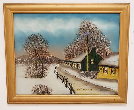 1037_REVERSE PAINTING ON GLASS TITLED *WINTER IN HOLLAND*. 19 1/2 X 15 1/2 INCH
