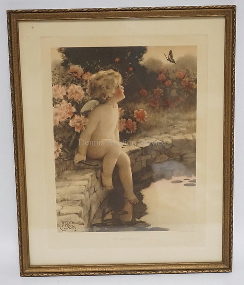 BESSIE PEASE GUTMAN *THE BUTTERFLY* PRINT. 15 X 18 1/2 INCH FRAME. SOME WATER ST