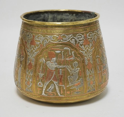 EGYPTIAN MIXED METALS VESSEL IN BRASS, SILVER, AND COPPER. HAND MADE WITH VERY F