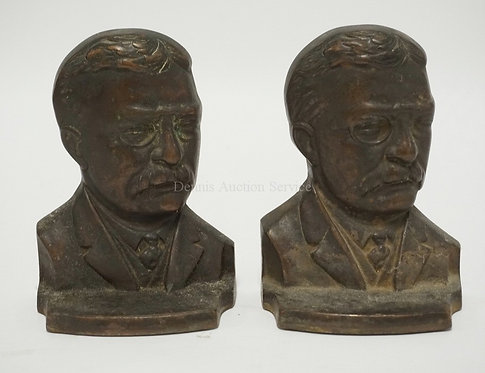 PAIR OF THEODORE ROOSEVELT CAST IRON BOOKENDS MEASURING 6 1/4 INCHES HIGH.