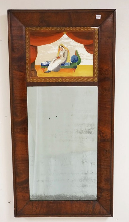 MAHOGANY MIRROR WITH A REVERSE PAINTED TOP PANEL (PAINTING HAS SOME WEAR). 18 1/