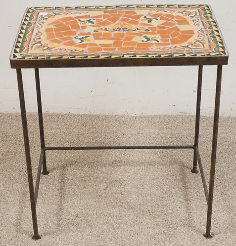 TILE TOP TABLE. 20 X 14 AND 22 INCHES HIGH.