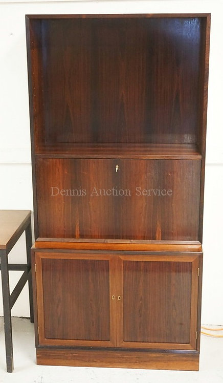 MID CENTURY MODERN 2 PIECE ROSEWOOD CABINET WITH A BOOKCASE TOP OVER A DROP FRON
