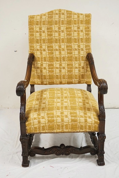 LARGE CARVED WALNUT ARMCHAIR. 46 INCHES HIGH. 26 INCHES WIDE.