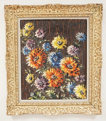 LEON-SCWARTZ ABRYS (FRENCH, 1905-1990) STILL LIFE OIL PAINTING ON BOARD OF FLOWE