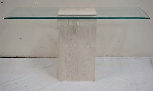 MODERN CONSOLE/SOFA TABLE IN MARBLE WITH A GLASS TOP. 52 X 15 INCH TOP. 29 INCHE