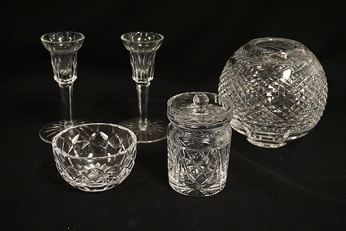 5 PC LOT OF WATERFORD CRYSTAL- PR OF CANDLESTICKS, ROSE BOWL, CONDIMENT JAR AND