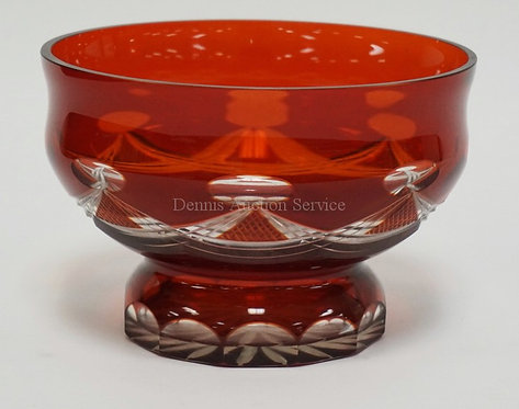 RUBY CUT TO CLEAR CRYSTAL BOWL MEASURING 7 7/8 INCHES IN DIA AND 5 1/4 INCHES HI