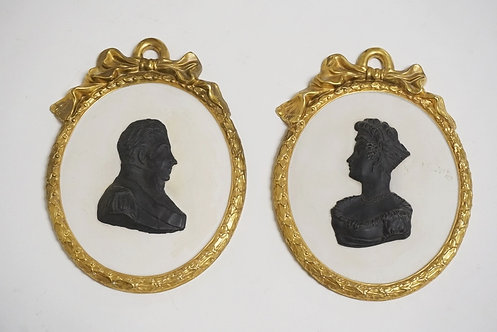 1192_PAIR OF MOTTAHEDEH PORCELAIN SILHOUETTES. BASALT ON WHITE WITH GOLD TRIM. 6