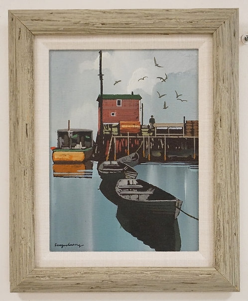 STANLEY M. ZUCKERBERG (1919-1995) OIL PAINTING ON BOARD OF DOCKED ROWBOATS WITH