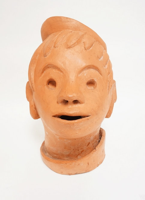 RED POTTERY BUST OF A BOY SIGNED MAY. 15 1/4 IN H. CHIP ON THE RIM OF HIS HAT