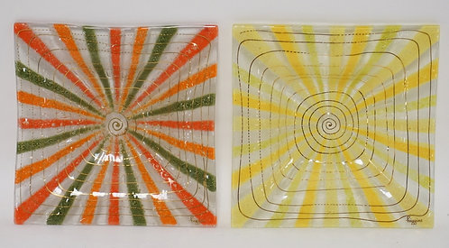 LOT OF 2 HIGGINS FUSED ART GLASS SQUARE DISHES. 7 INCHES SQUARE. 1 1/8 INCHES HI