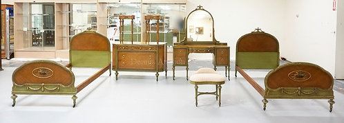 7 PIECE PAINT DECORATED SATINWOOD BEDROOM SET WITH OVAL FLORAL MEDALLIONS, URN C
