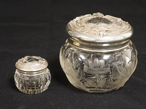 CUT POWDER AND POMADE JARS WITH MATCHING ORNATE STERLING SILVER LIDS, SMALL JAR