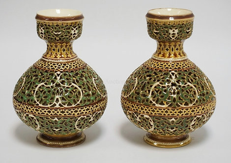 PAIR OF ZOLNAY VASES WITH BEAUTIFUL OPENWORK DESIGNS. 8 INCHES HIGH.