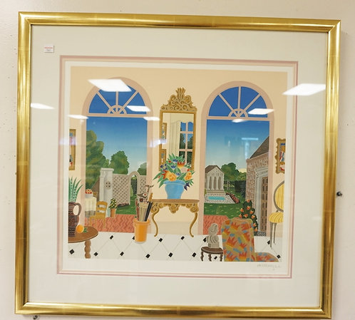 PENCIL SIGNED LIMED PRINT OF A ROOM AND A VIEW OUT 2 LARGE ARCHED WINDOWS. #46 O