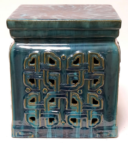 ASIAN POTTERY GARDEN SEAT. 12 X 12 AND 13 1/2 INCHES HIGH.
