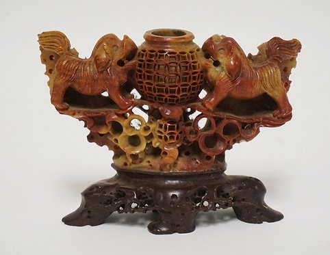1105_ORNATELY CARVED ASIAN SOAPSTONE INCENSE HOLDER WITH FOO DOF FIGURES. ONE SM