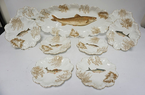TV AND AL LIMOGES 9 PC FISH SET. PLATTER IS 24 IN, PLATES ARE 9 1/2 IN