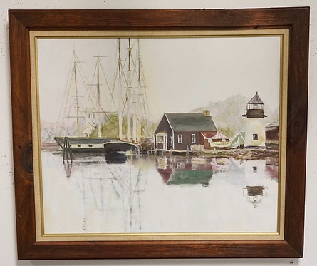 BARBARA STANIK OIL PAINTING ON CANVAS TITLED *MYSTIC SEAPORT*. 24 X 20 INCH SIGH