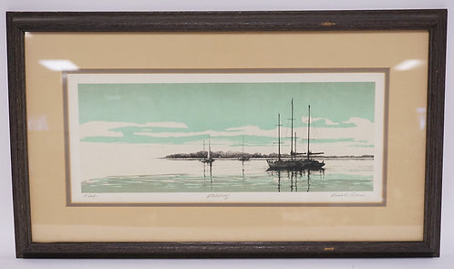 PENCIL SIGNED ARTISTS PROOF PRINT BY LUBECK. TITLED *AT DUSK*. 17 X 7 INCH SIGHT
