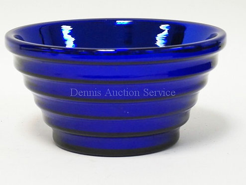 CZECHOSLOVAKIAN BLUE MERCURY GLASS BOWL WITH INVERTED STEP SIDES. 8 1/2 INCH DIA