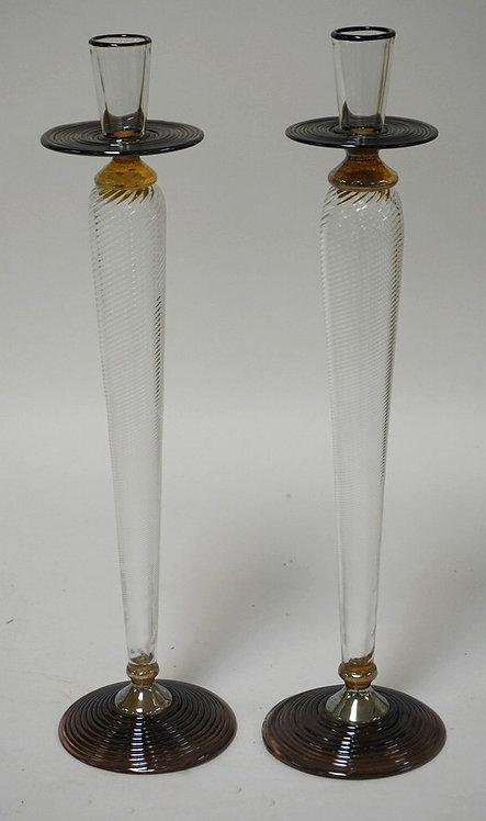 STUDIO PARAN FOR TIFFANY & CO. PAIR OF TALL CANDLESTICKS. 16 INCHES HIGH.