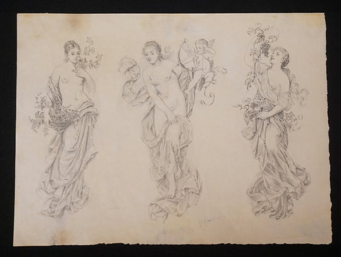 GUSTAV GAUL (AUSTRIAN, 1836-1888). PENCIL DRAWING OF THREE ALLEGORICAN FEMALES,