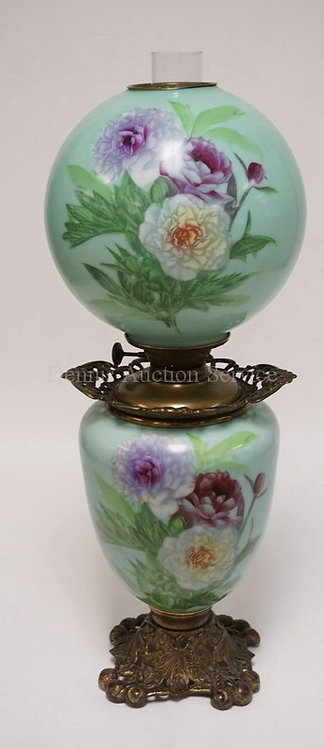 ALL ORIGINAL ANTIQUE GONE WITH THE WIND OIL LAMP WITH HAND PAINTED BASE AND SHAD