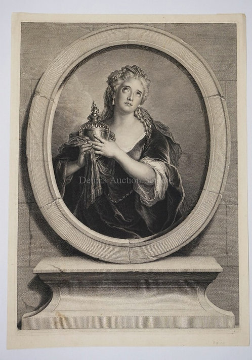 PIERRE-IMBERT DREVET 1697-1739. ENGRAVING OF ADRIENNE COUVREUR AFTER CHARLES COY