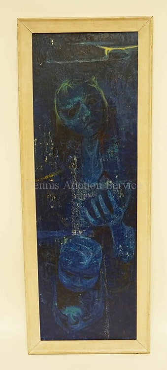 JAMES CHAN LEONG (AMERICAN, B. 1929). PAINTING ON BOARD. 10 X 30 1/4 INCHES. TIT