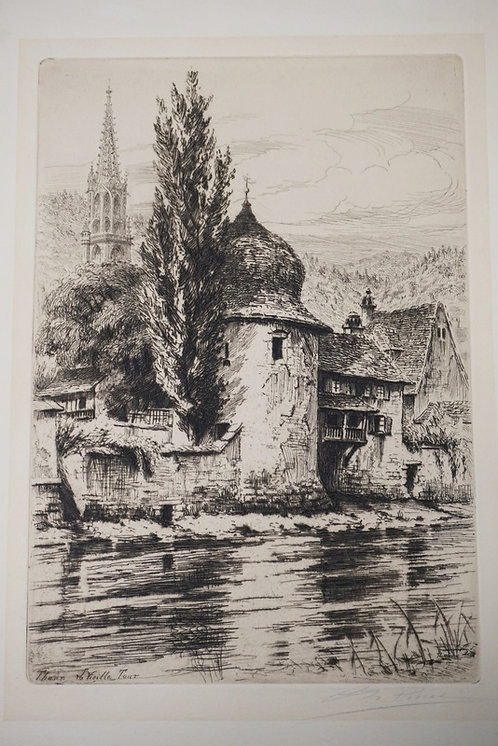 1277_PENCIL SIGNED ETCHING TITLED *THANN LA VIEILLE TOUR*. PENCIL SIGNED. 7 7/8