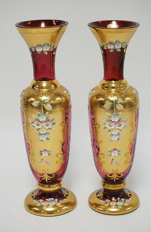 PAIR OF BOHEMIAN CRANBERRY ART GLASS VASES WITH GOLD DECOREATION ALONG WITH THIC