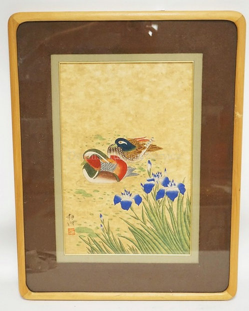 ASIAN PRINT OF SWIMMING DUCKS NEAR FLOWERS. CHARACTER SIGNED.16 X 10 1/2 INCHES.