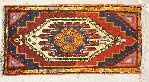 1013_HAND WOVEN ORIENTAL RUG MEASURING 3 FT X 1 FT 7 INCHES.
