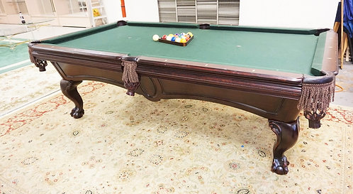 AMF POOL TABLE W/BALL & CLAW FEET. ALSO WOODEN RACK WITH 7 STICKS. APP 8 FT 3 IN