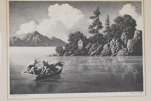 HANNES BOK *LAZY AFTERNOON* PENCIL SIGNED LITHOGRAPG. 13 3/4 X 9 1/4 INCH IMPRES