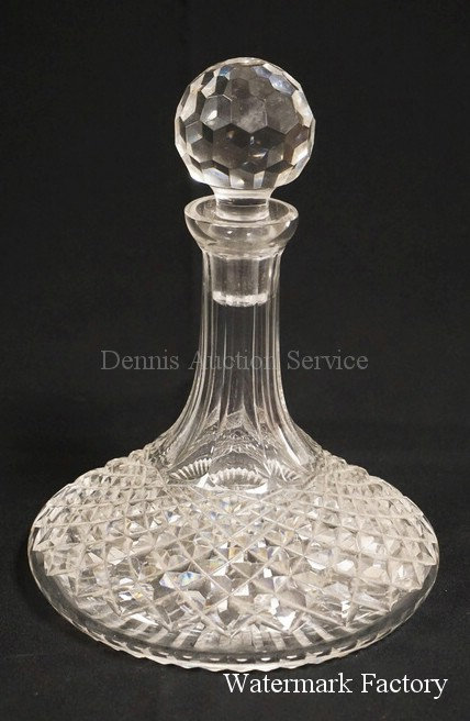 WATERFORD CUT CRYSTAL SHIPS DECANTER WITH STOPPER. 9 1/2 INCHES HIGH.
