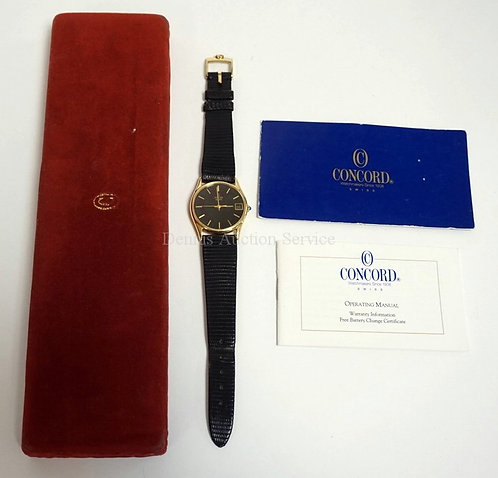 14K GOLD WRIST WATCH BY CONCORD. COMES WITH ORIGINAL BOX AND CERTIFICATES.