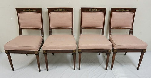 SET OF 4 WALNUT REGENCY DINING CHAIRS WITH BRONZE ORMOLU AND EBONIZED ACCENTS.