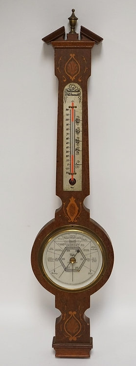 STENCILLED MAHOGANY WEATHER STATION BY THE TAYLOR INSTRUMENT COMPANY. BAROMETER
