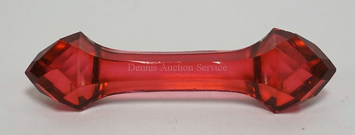 ANTIQUE RUBY CUT GLASS KNIFE REST MEASURING 3 3/4 INCHES LONG. HAS A COUPLE VERY